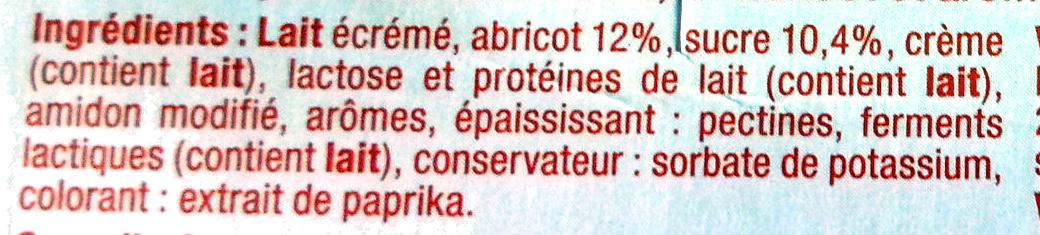 Yaourt brassé sucré à l'abricot aromatisé fleur d'oranger - Ingrediënten - fr