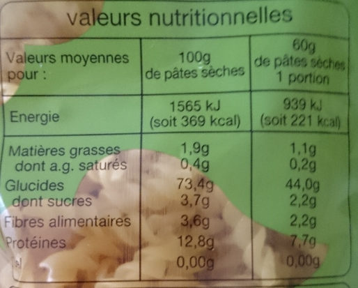 Pâtes Torti - Nutrition facts