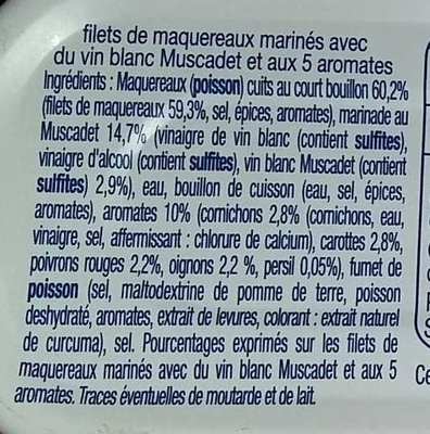 Filets de maquereaux (marinés au muscadet et aux 5 aromates) - Ingrédients - fr