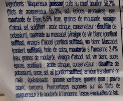 Filet De Maquereaux Sauce Mouratde A L'ancienne - Ingrédients - fr