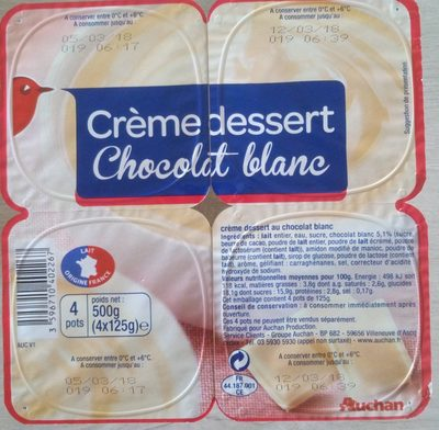 cr me dessert chocolat blanc auchan 500 g 4 x 125 g. Black Bedroom Furniture Sets. Home Design Ideas