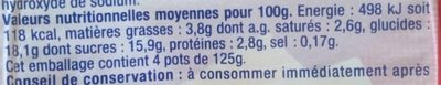Crème dessert chocolat blanc - Nutrition facts