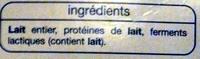 Yaourt Brassé Nature (16 pots) - Ingrédients