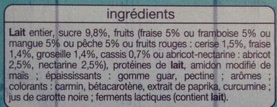 Yaourt aux fruits mixés sans morceaux (16 pots) - Ingredients - fr