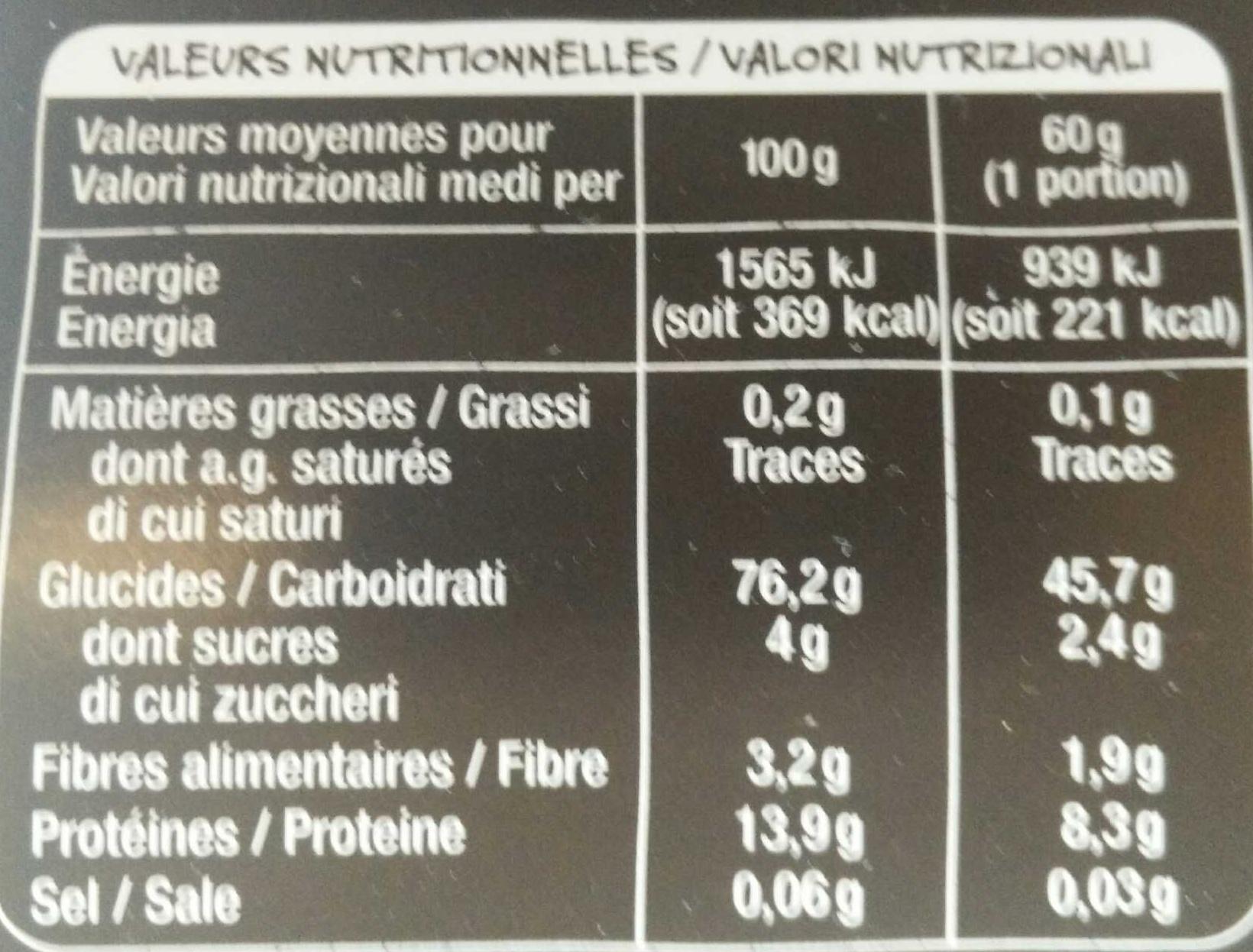 Conchiglie 5 couleurs - Informations nutritionnelles - fr