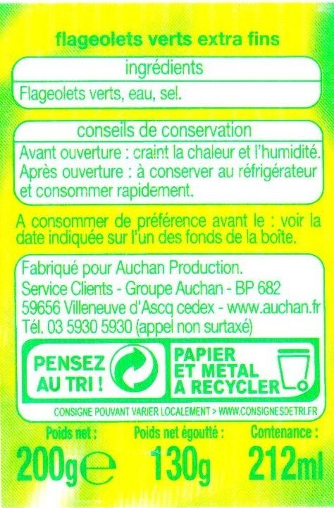 Flageolets Verts Extra Fins - Ingredients - fr