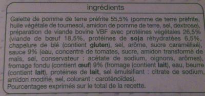 Potatoes Burger - Ingrédients - fr