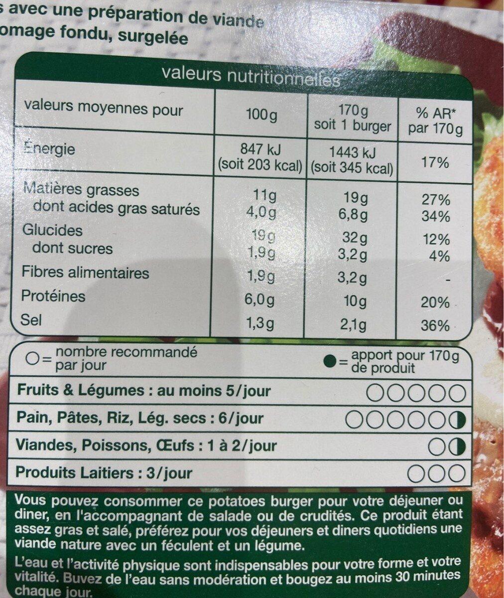 Potatoes Burger - Informations nutritionnelles - fr