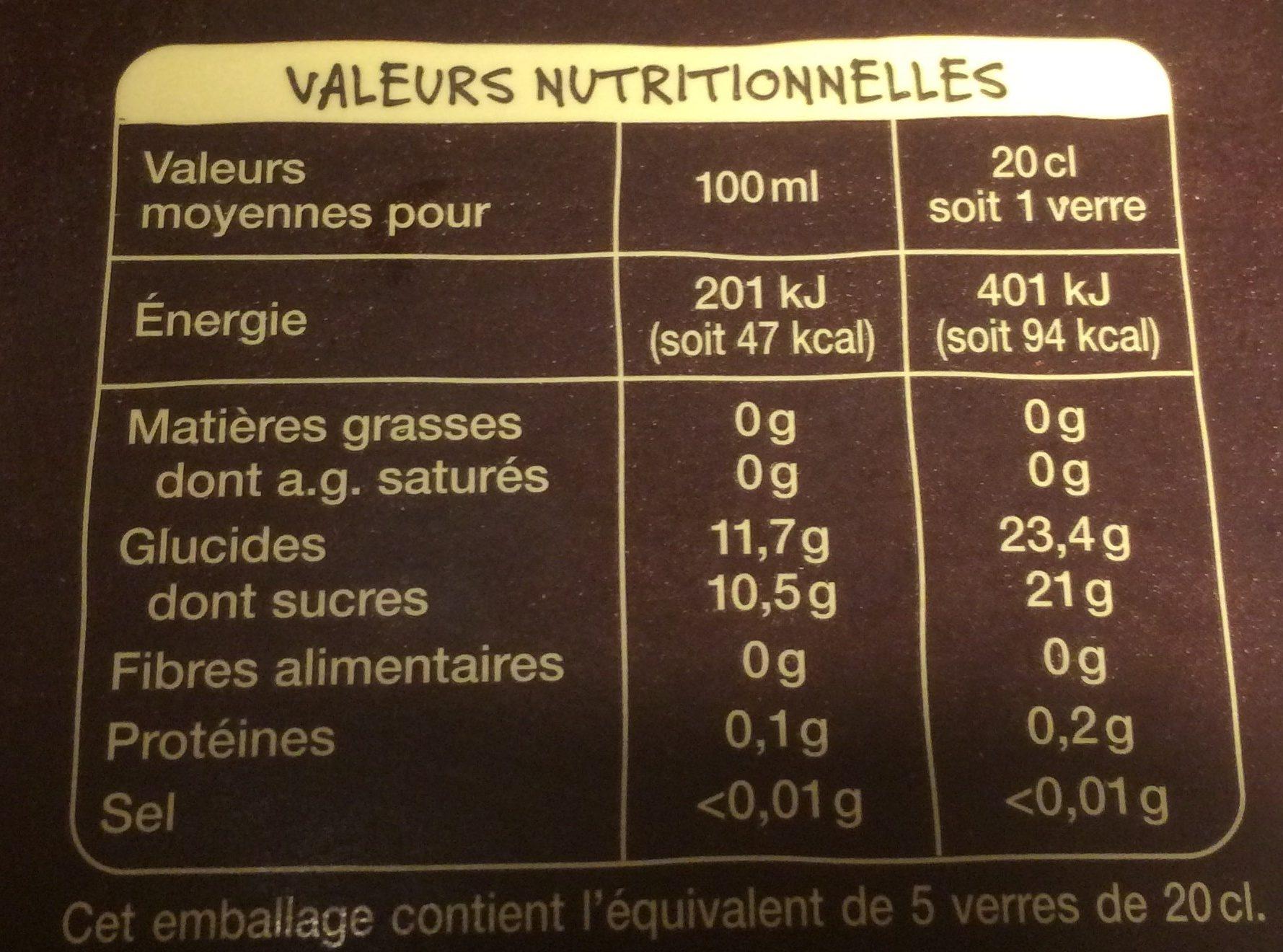 Pur jus de pomme - Nutrition facts
