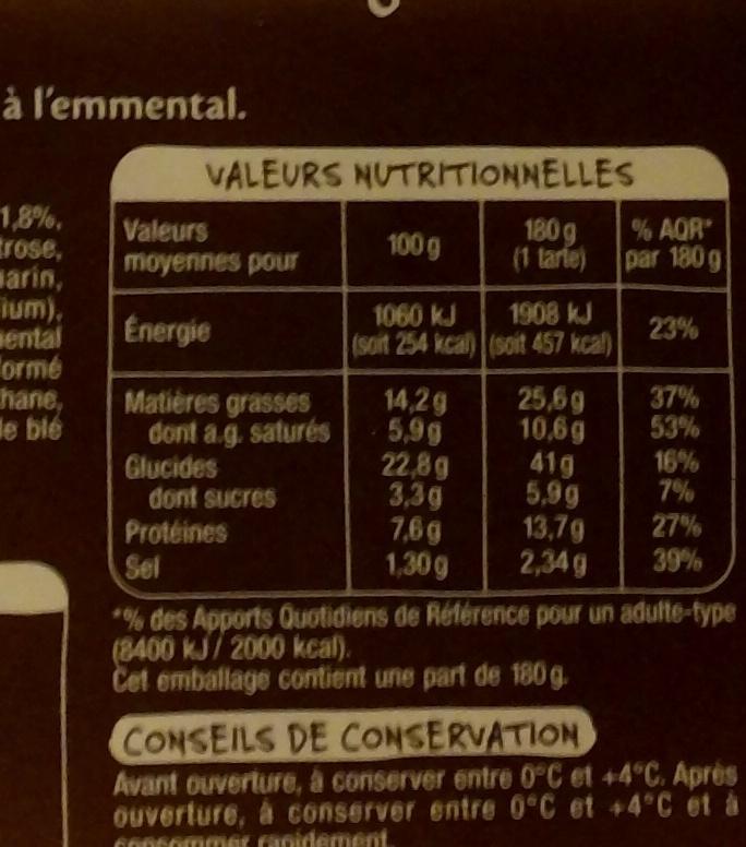 Mmm! Tarte flambée Alsacienne gratinée à l'emmental - Informations nutritionnelles - fr