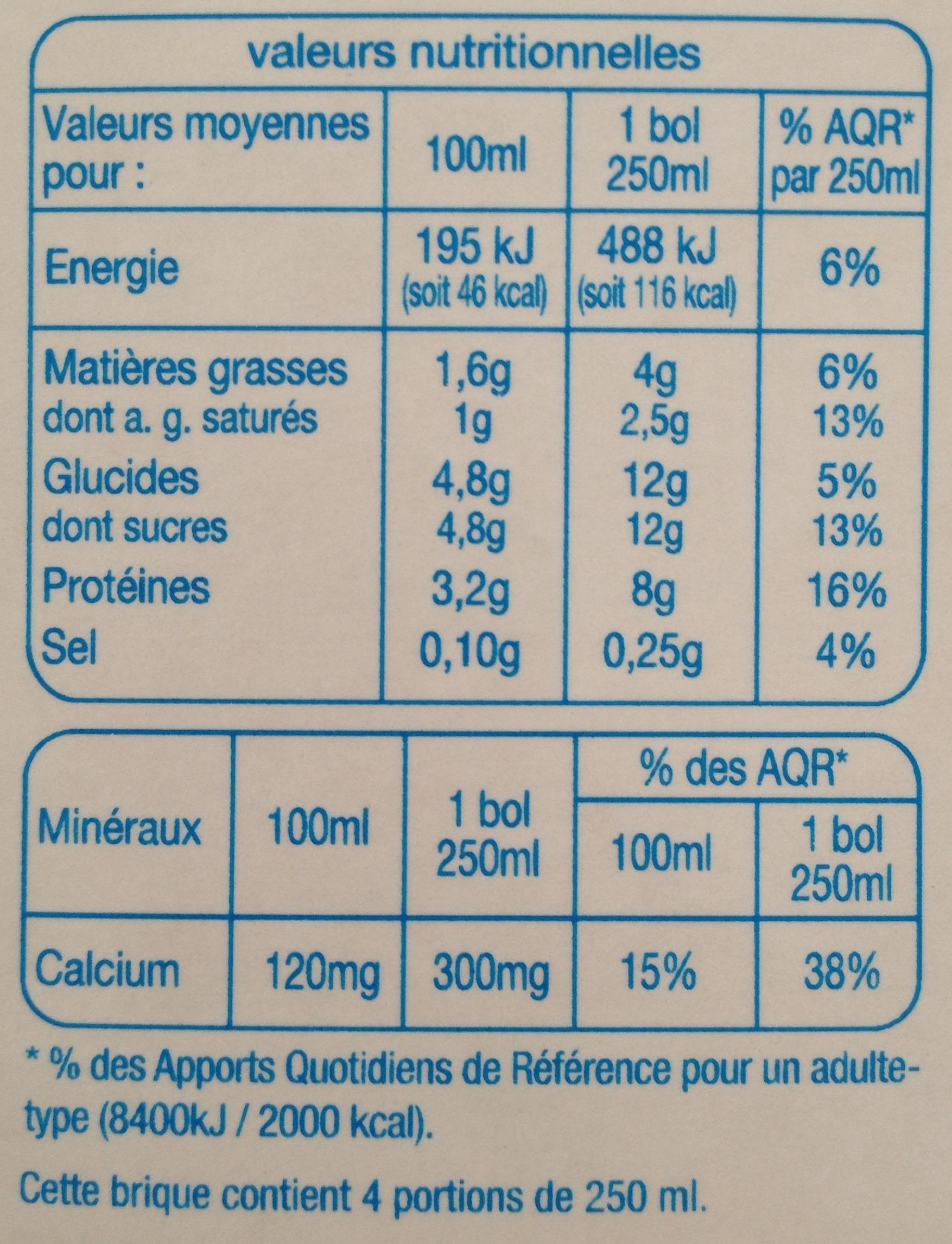 Lait demi-écrémé des campagnes françaises - Valori nutrizionali - fr