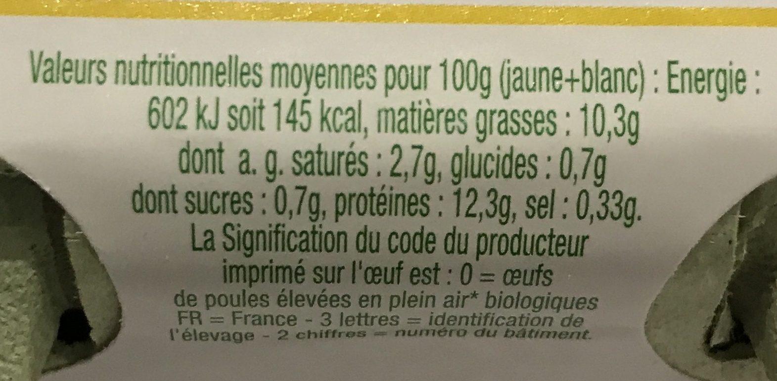 6 oeufs de poules élevées en plein air - Ingrédients - fr