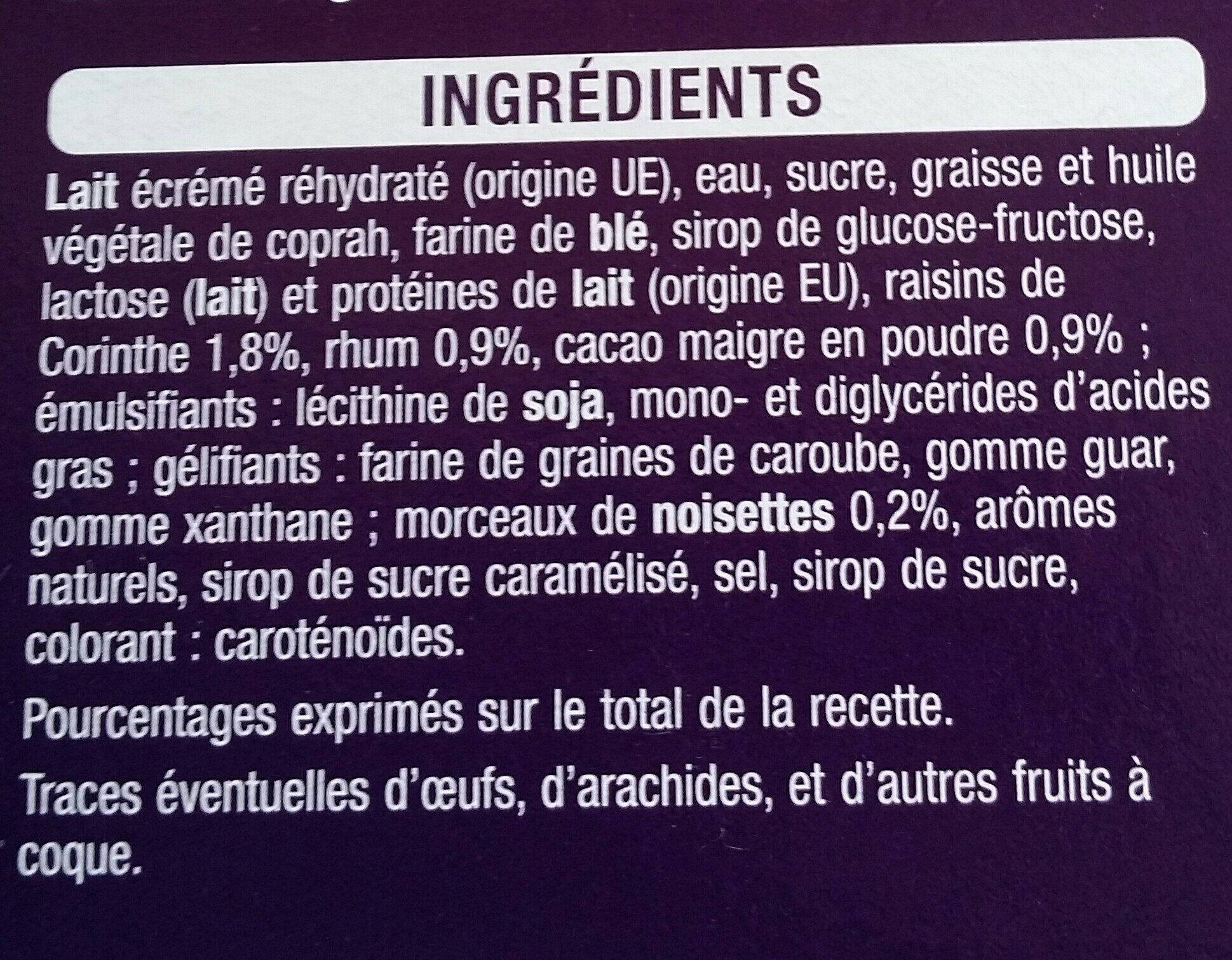 Cône rhum raisin x6 - Ingrédients - fr