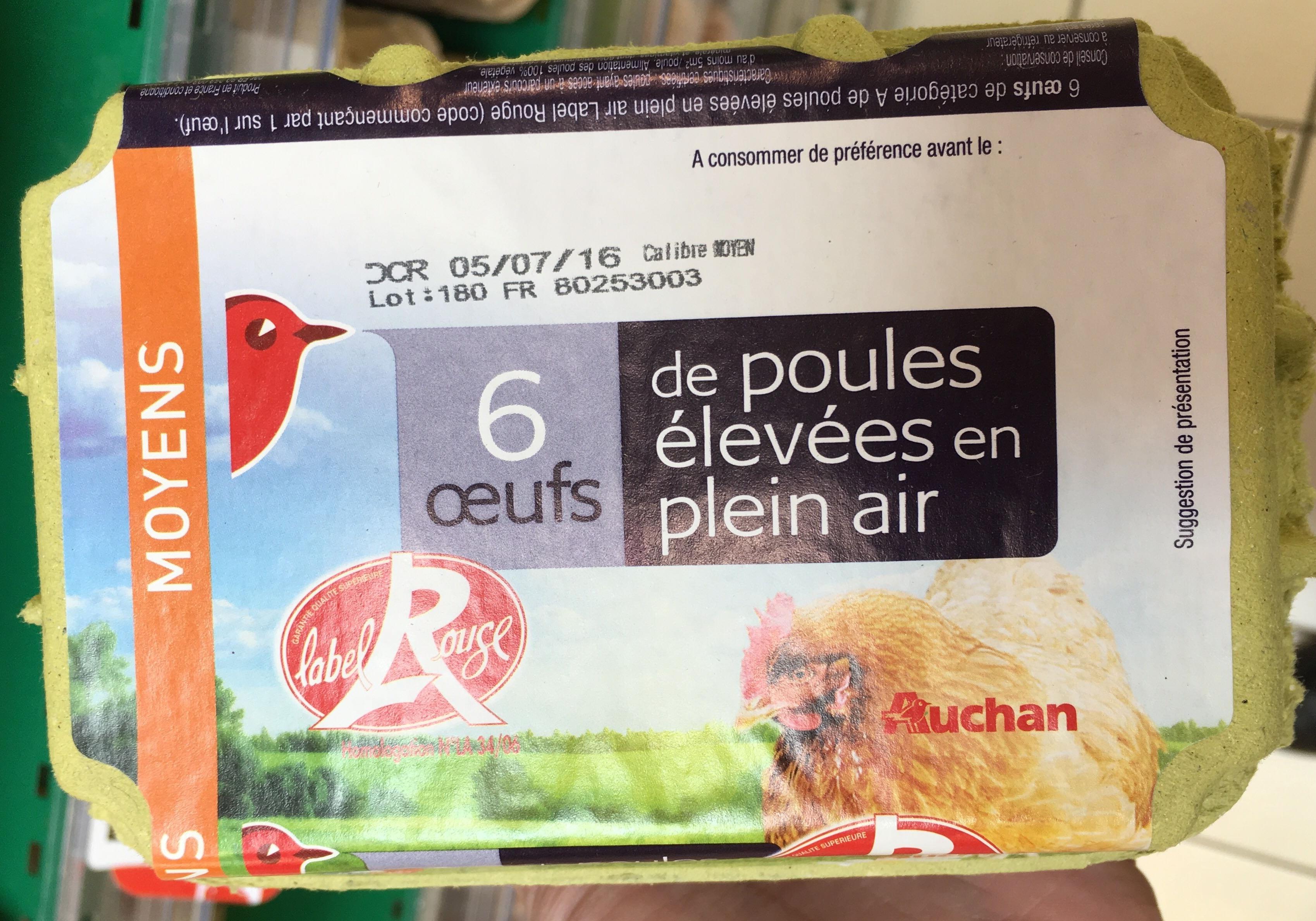 6 oeufs de poules élevées en plein air Moyens Label Rouge - Product - fr