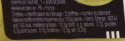 6 oeufs de poules élevées en plein air Moyens Label Rouge - Nutrition facts - fr