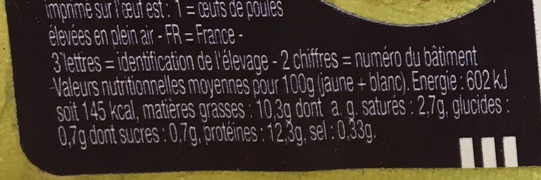 6 oeufs de poules élevées en plein air Moyens Label Rouge - Nutrition facts