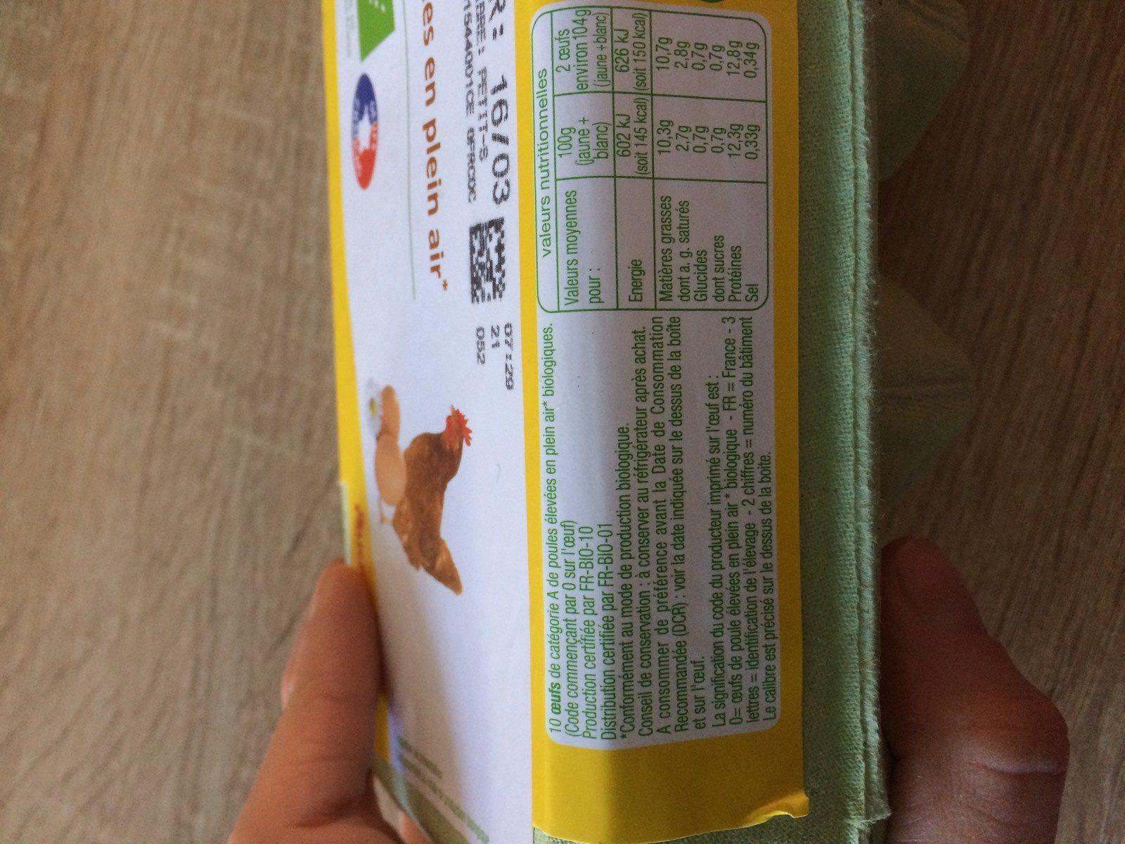 10 Oeufs Bios - Ingrediënten - fr