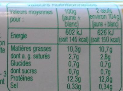 10 Oeufs Bios - Voedingswaarden - fr