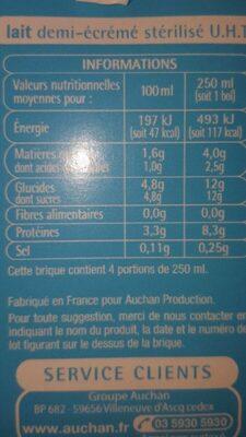 Lait demi écrémé 1L - Nutrition facts - fr