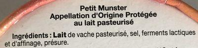 Petit Munster - Ingrédients