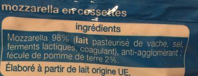 Mozzarella en Cossettes - Ingrédients - fr
