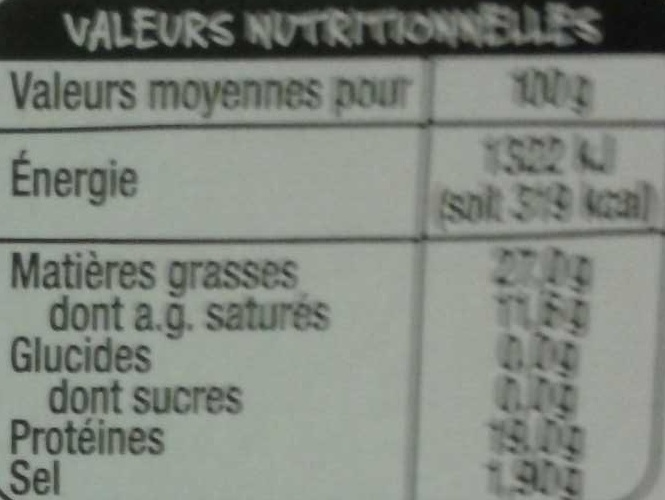 Gorgonzola - Informations nutritionnelles - fr