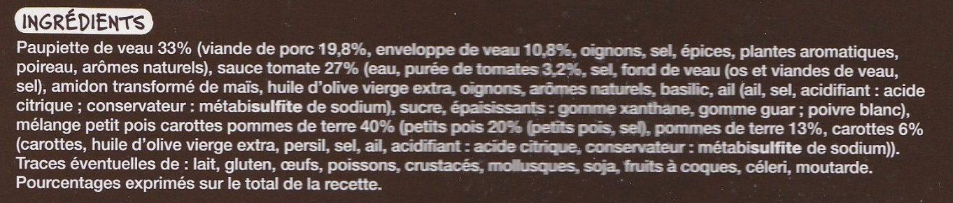 Paupiette de veau & petits pois carottes, pommes de terre - Ingrédients - fr