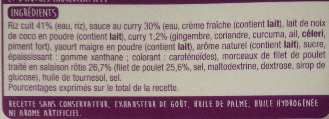 Le poulet au curry et son riz blanc - Ingrédients - fr