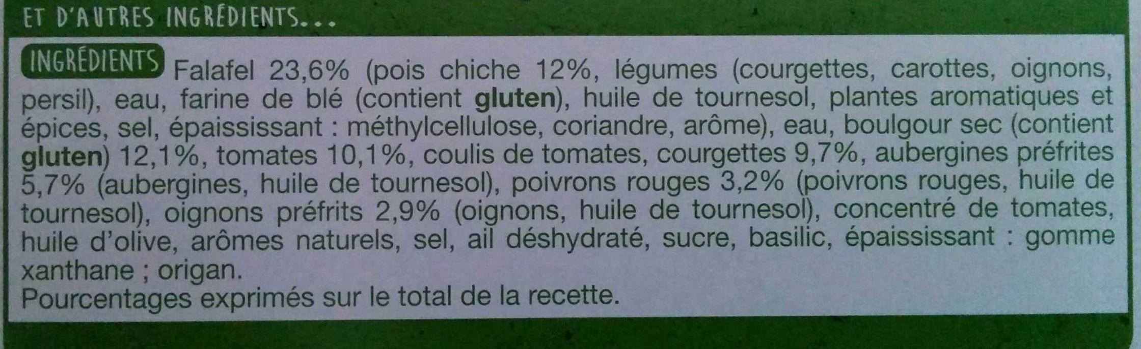 Envie de Veggie, Falafel Boulgour Légumes - Ingredients