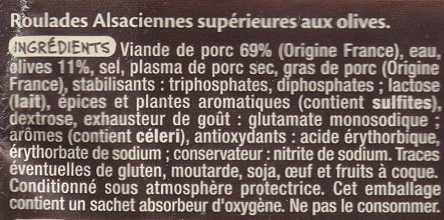 Roulades Alsaciennes aux olives - Ingredients