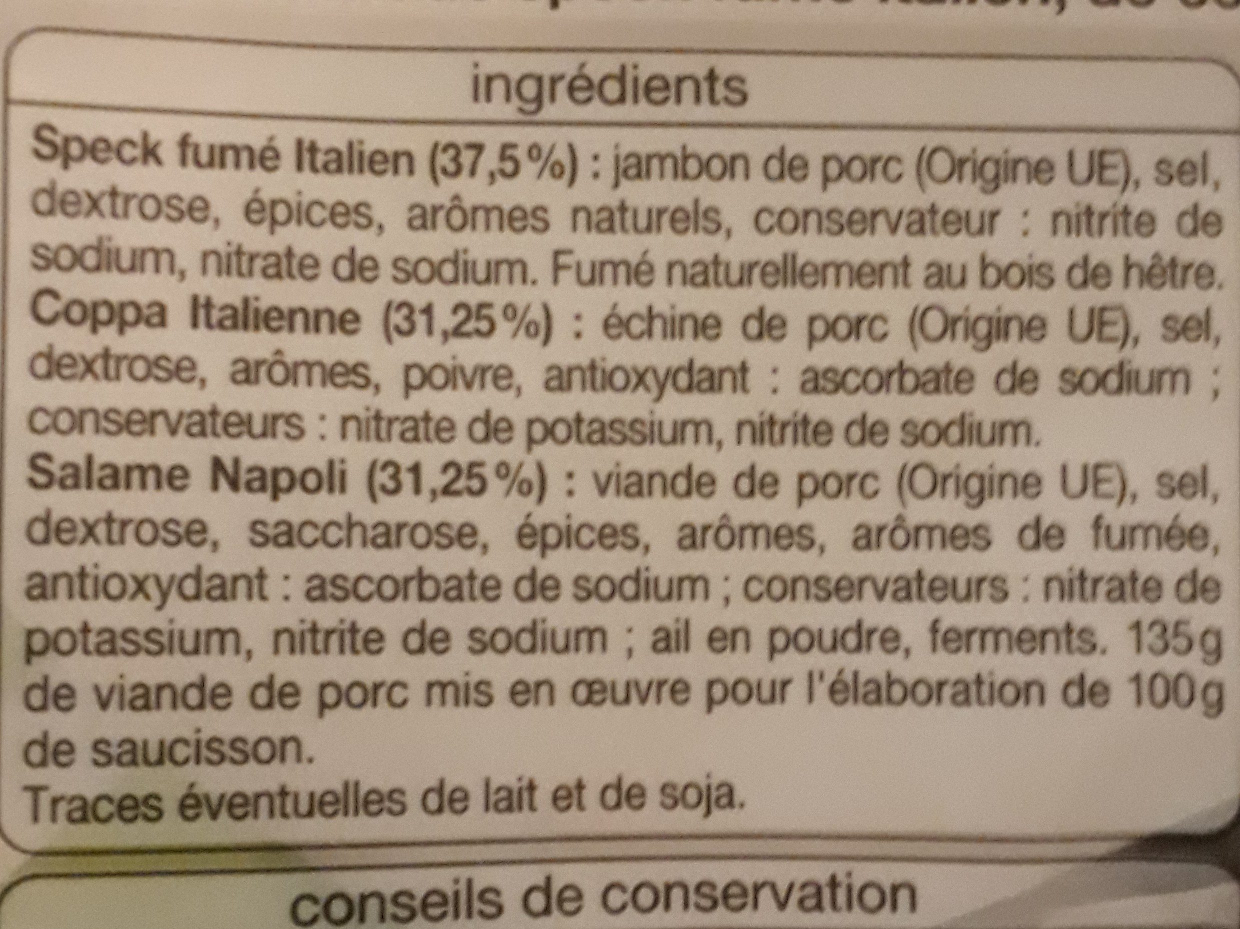 Plateau dégustation - Ingredients