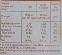 Barres fourrées Choco-Caramel (6 biscuits) - Informations nutritionnelles