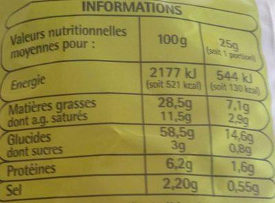 Soufflés Saveur Fromage - Nutrition facts - fr