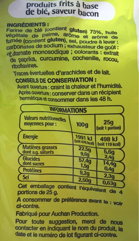 Snacks saveur bacon - Informations nutritionnelles