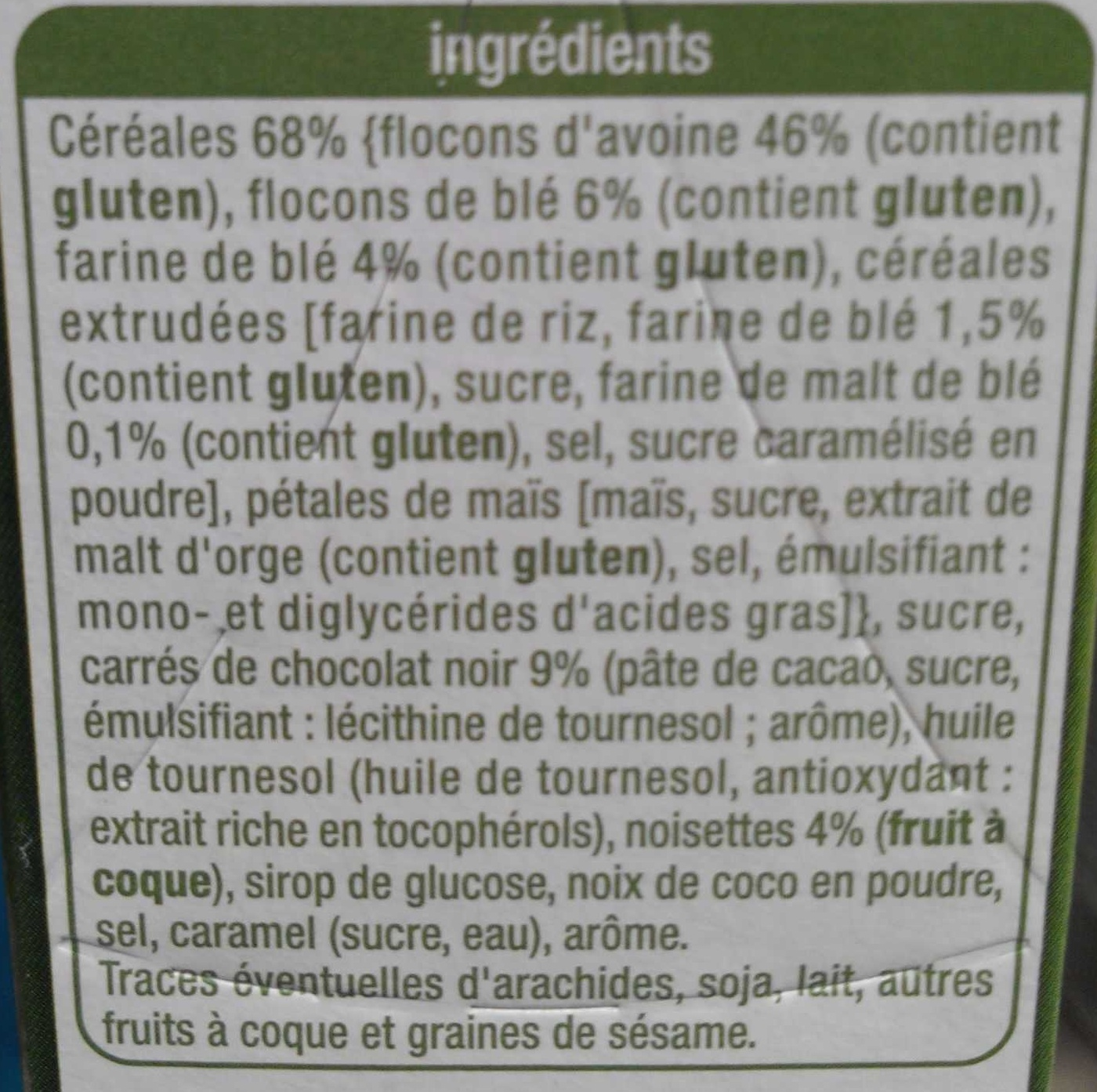 Crousty - Chocolat noir et noisettes - Ingredienti - fr