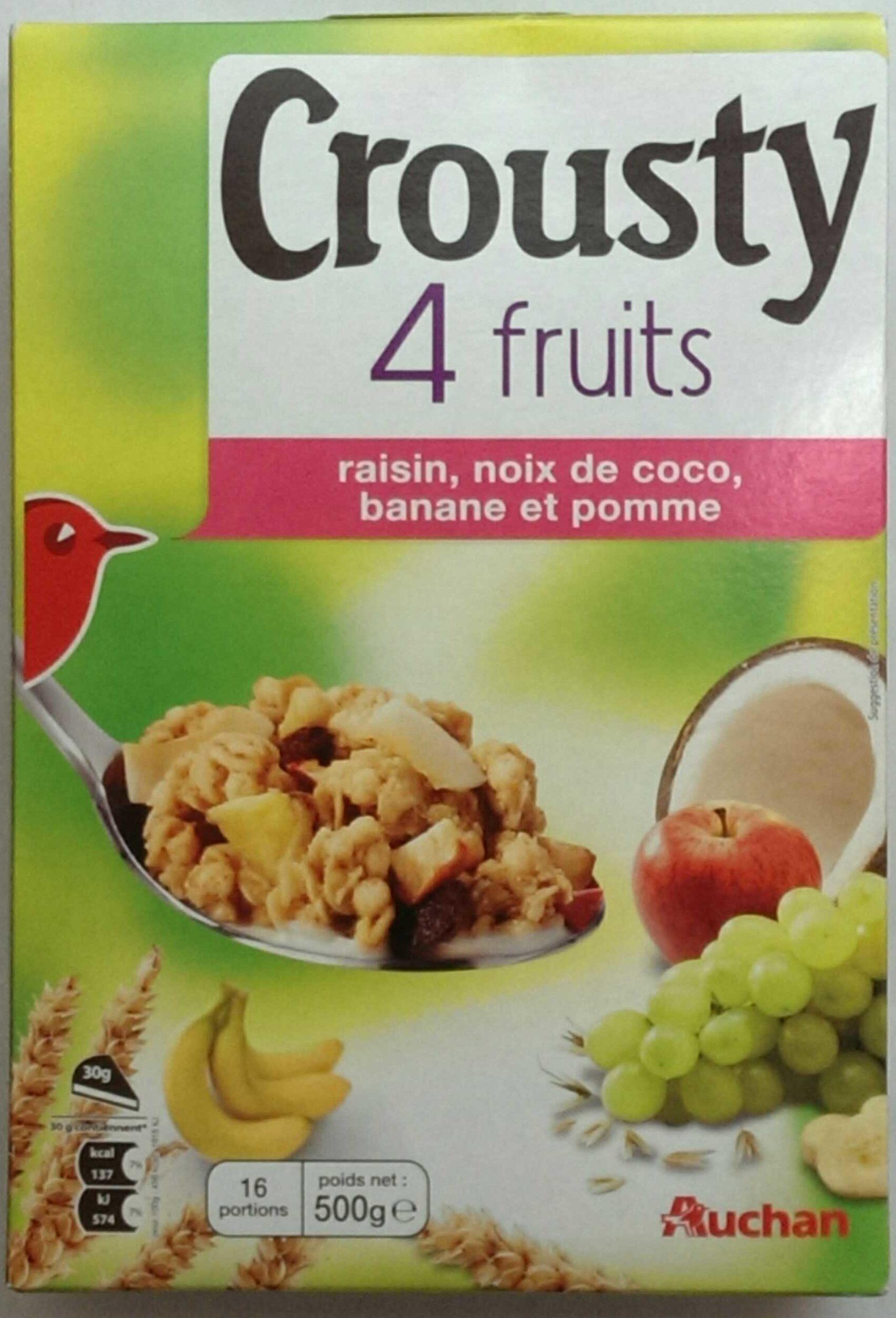 crousty 4 fruits raisin noix de coco banane et pomme. Black Bedroom Furniture Sets. Home Design Ideas