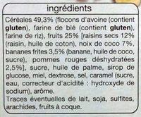 Crousty 4 fruits (raisin, noix de coco, banane et pomme) - Ingredients - fr