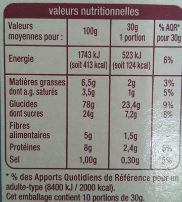 Déliform Chocolat au Lait - Informations nutritionnelles