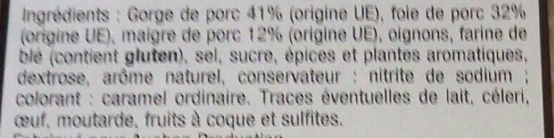 *auchan Pate Campagne Tsr 200g - Ingrédients - fr