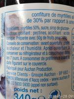 Confiture de myrtilles allégée en sucres - Ingredienti - fr