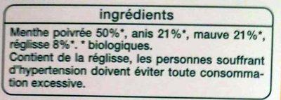 Infusion ventre plat* Menthe poivrée, anis, mauve et réglisse - Inhaltsstoffe - fr