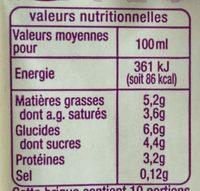 Spécialité Laitière - Fluide 5% matière grasse - Informations nutritionnelles - fr