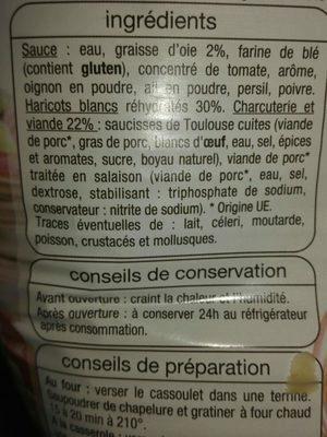 Cassoulet Toulousain - Ingredients - fr