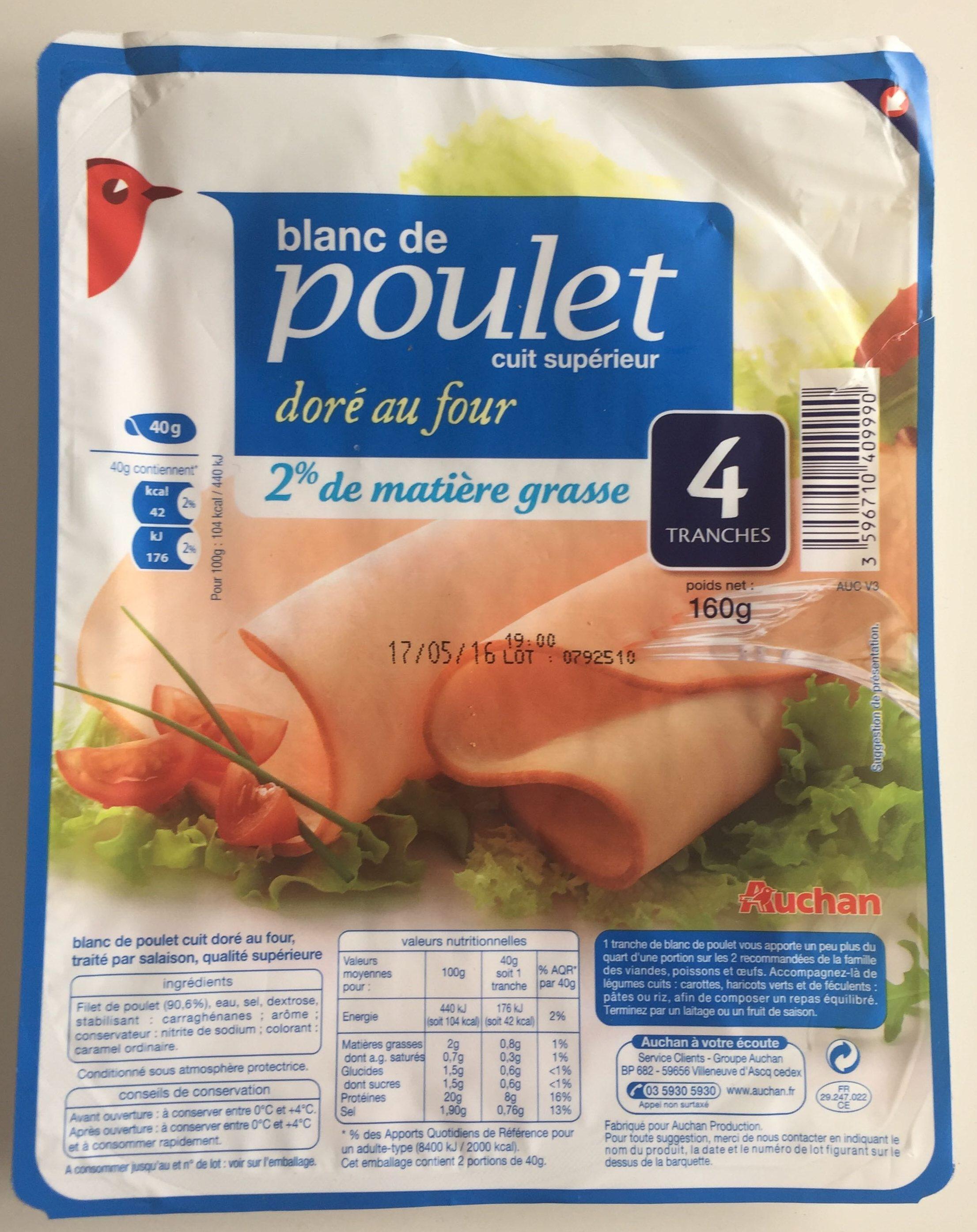 Blanc De Poulet Cuit Sup Rieur Dor Au Four Auchan 160 G