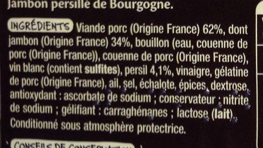 Jambon persillé de Bourgogne - Ingrédients - fr