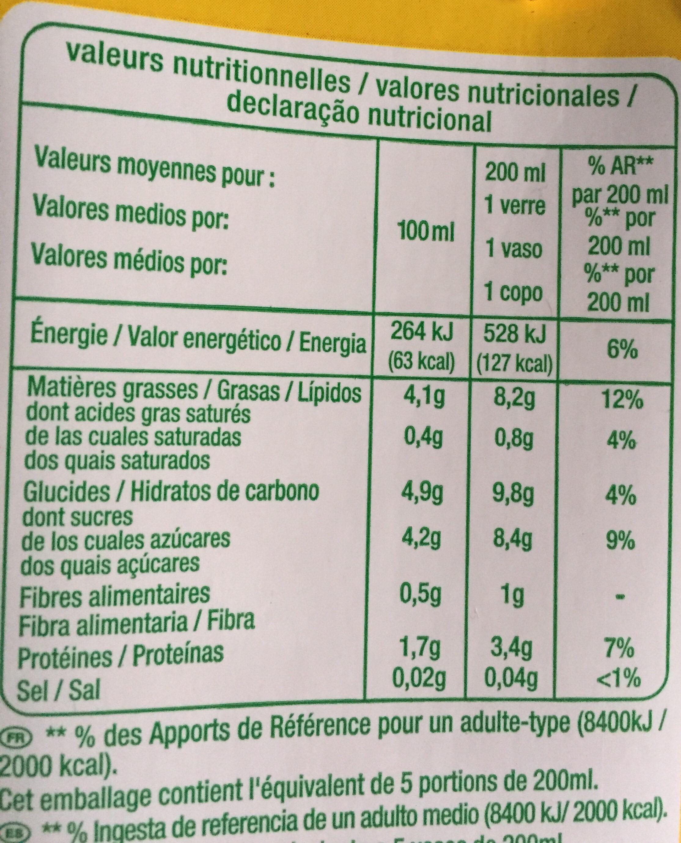 Lait d'amande - Informations nutritionnelles