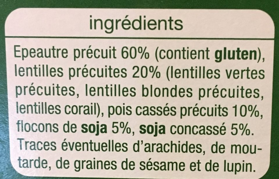 Épeautre légumes secs soja nature - Ingrediënten