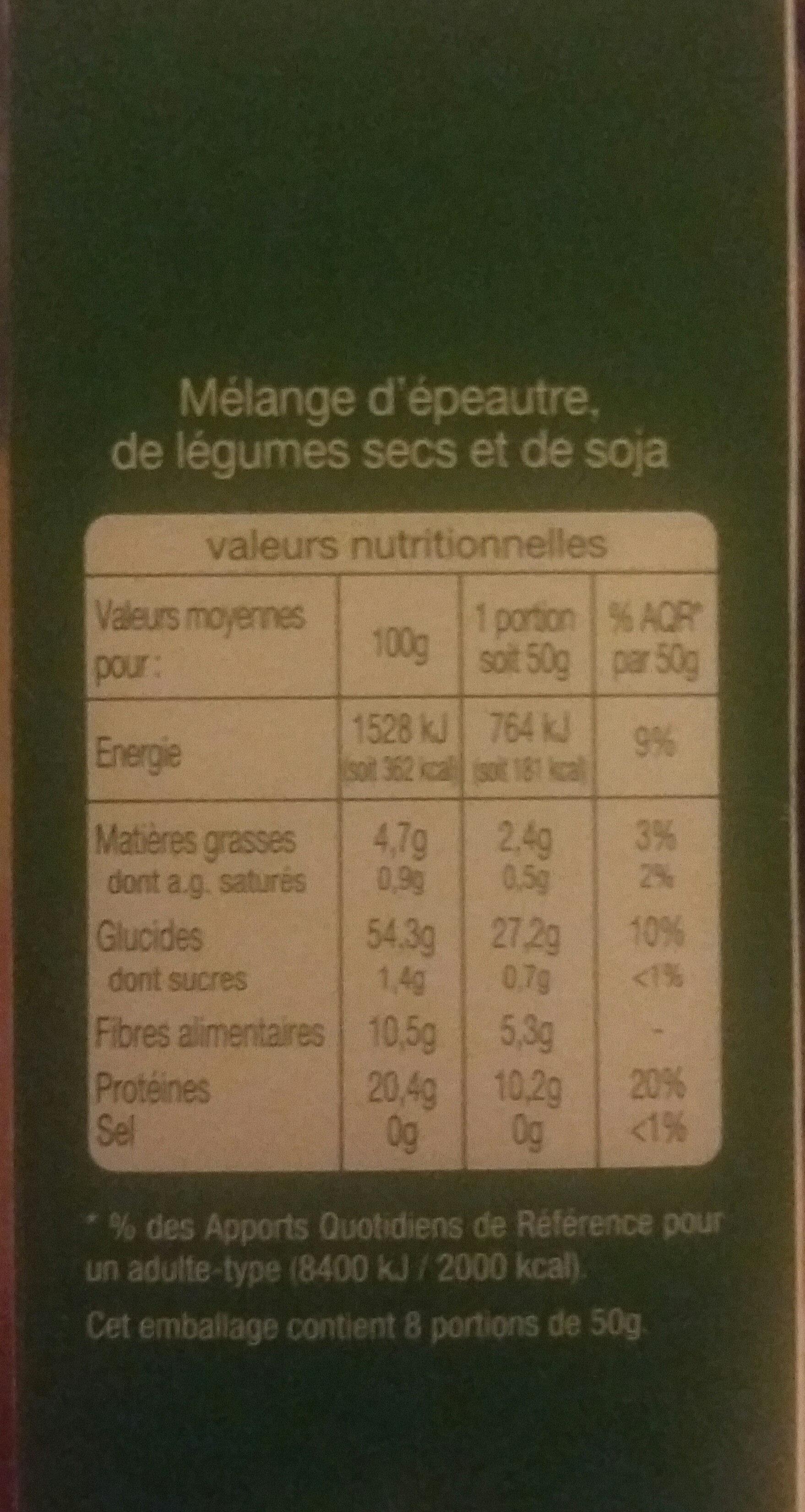 Épeautre légumes secs soja nature - Voedingswaarden