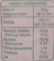 Riz Thaï Bio - Informations nutritionnelles - fr