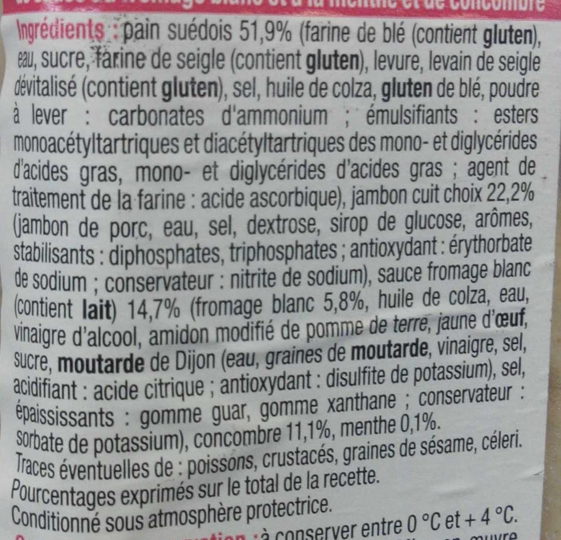 Pause Snack Jambon Concombre - Ingrédients